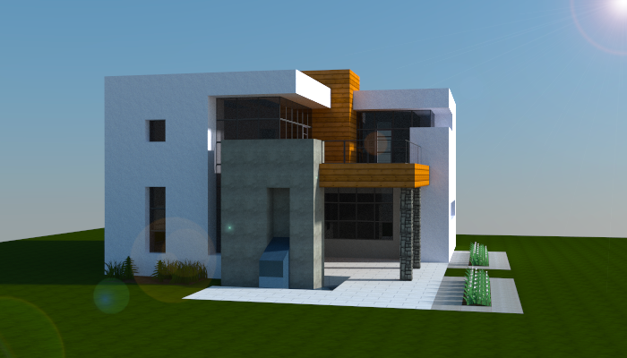 Simple modern house minecraft pinterest modern for Modern house mc