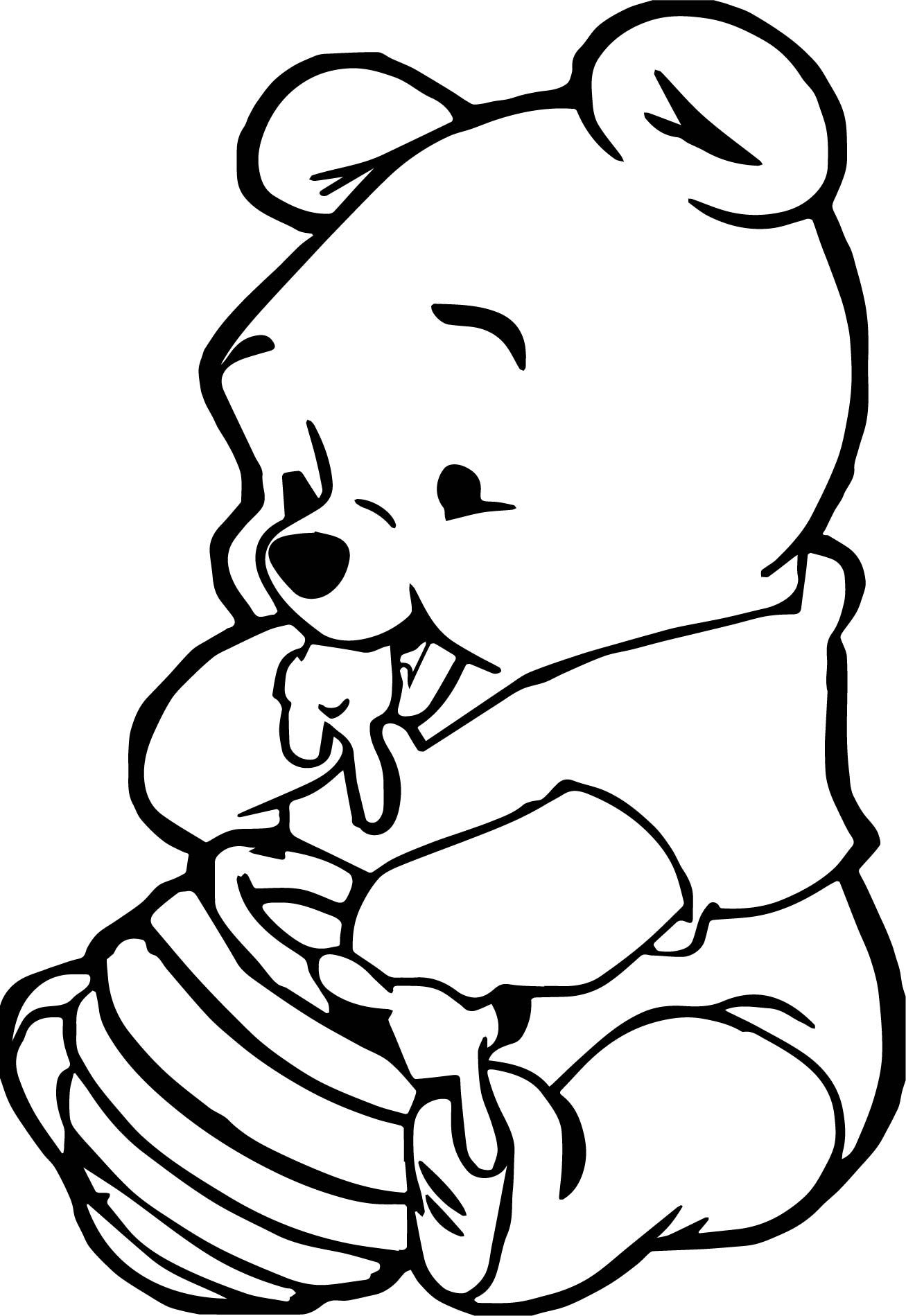 Awesome Cute Baby Winnie The Pooh Eating Hunny Coloring Page
