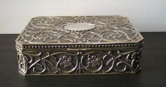 Jewelry Casket Box Stunning Vintage Godinger Silver Plate Floral Repousse Art Nouveau Victorian
