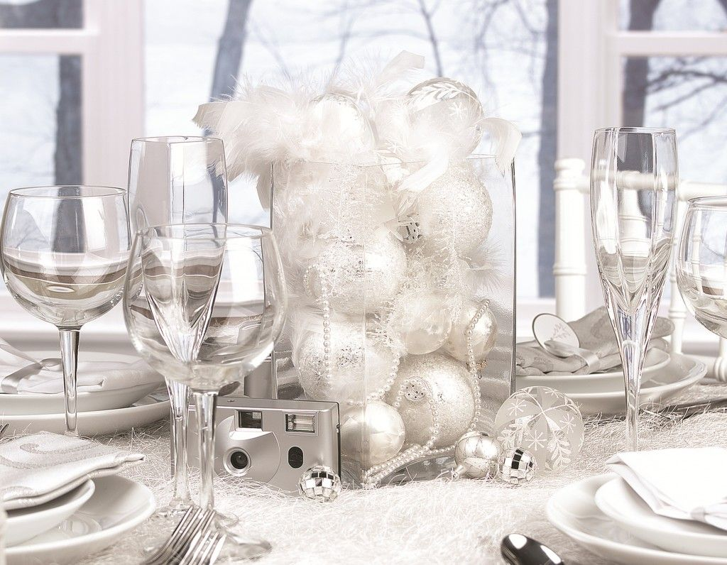 Create a unique winter wedding centerpiece with white ornaments and ...