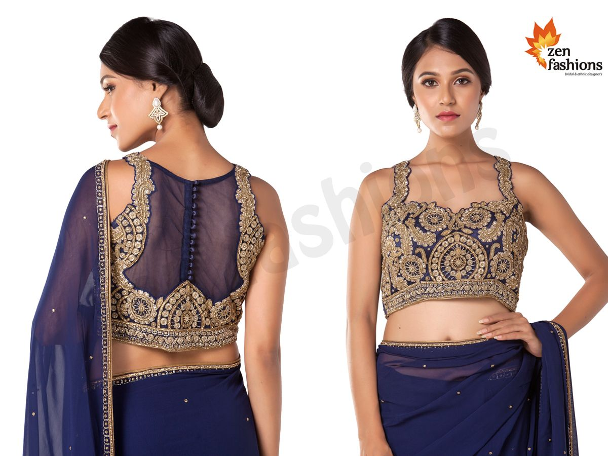 Navy Blue Saree In Adorn Georgette. #zenfashions  WhatsApp / Call - +91 9987244208  http://zenembroideryhub.com/  - Featuring In Georgette - Embellished In Beads, Stone And Sadi Work. - Matched With Heavy embroidered In Blouse.  #navyblue #saree #georgette #embellished #stone #border #beads #sadi #blouse #sareelove #shopping #mumbai #look #beauty #glam #shop #love #women #style #embroidery #work