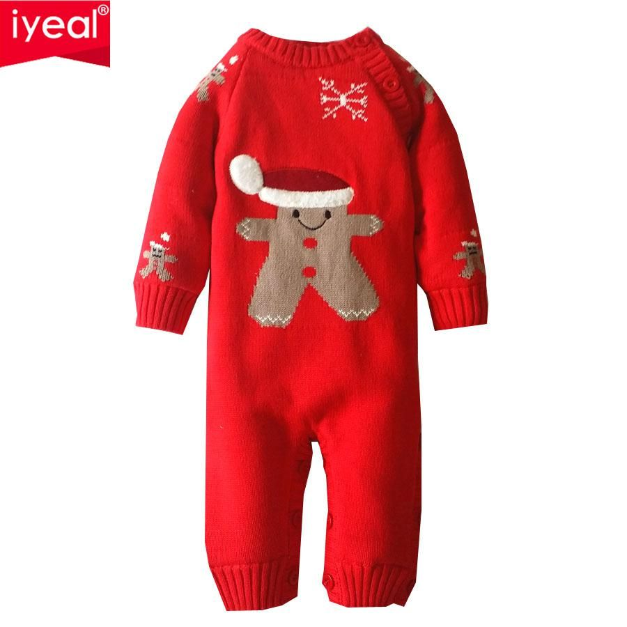 Cartoon New Year 2018 Long Sleeve Newborn Boys Girls Climbing Clothes Cotton Baby Rompers