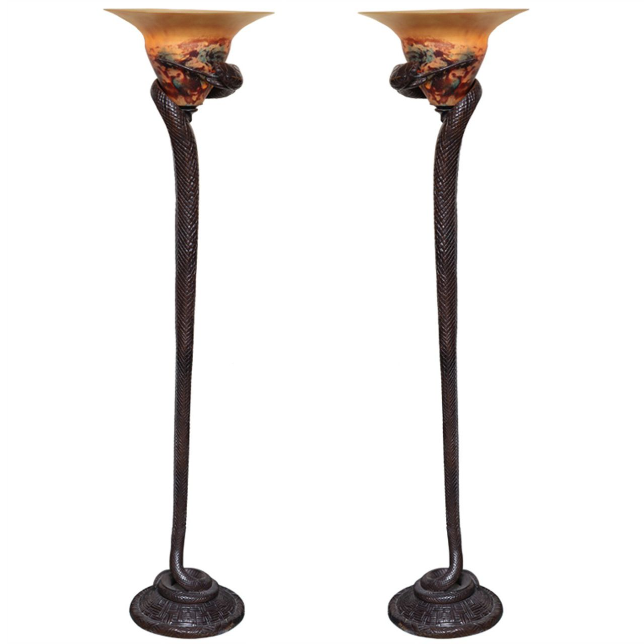 Unique lamps for sale - Pair Of Art Deco Style Bronze And Art Glass Snake Form Floor Lamps From