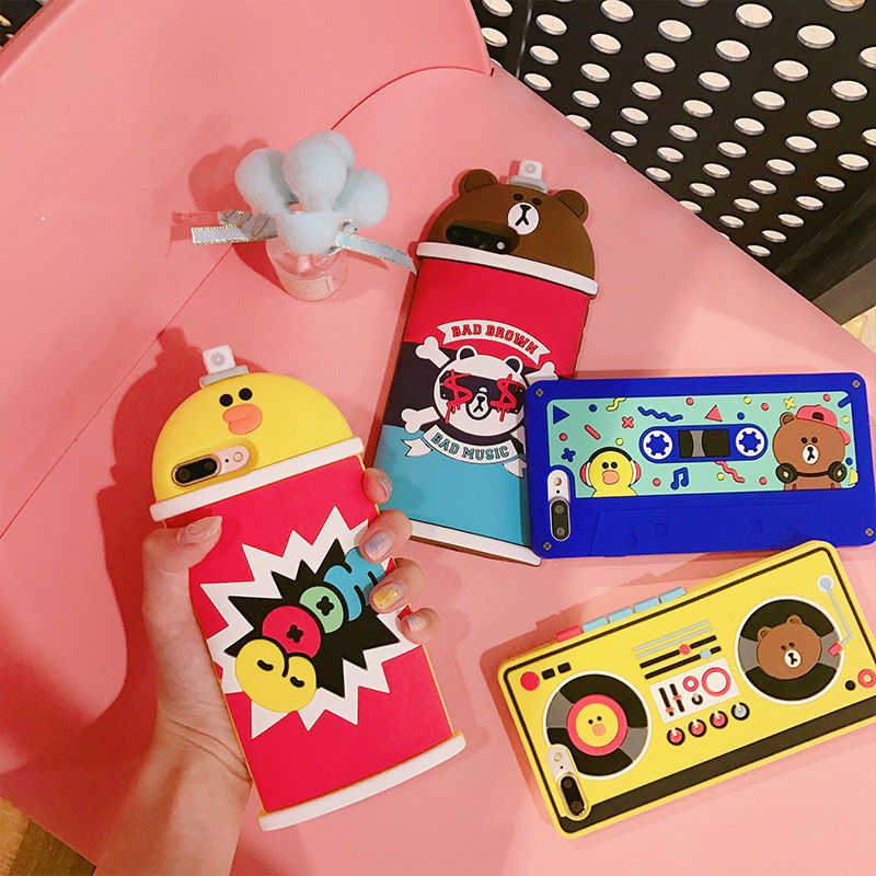 best service a0428 5ee8c Cartoon Cute Bear sally Sprays Silicone Soft case Cover for iPhone 8 ...