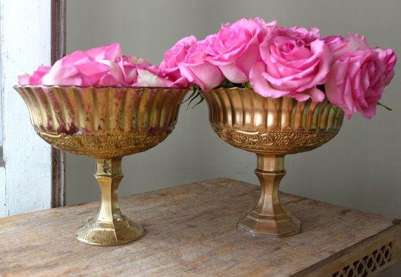 Beautiful Ornate Glass Pedestal Vases Set By Peonyandpetunia
