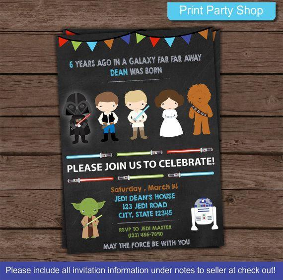 Star Wars Invitation By Printpartyshop On Etsy