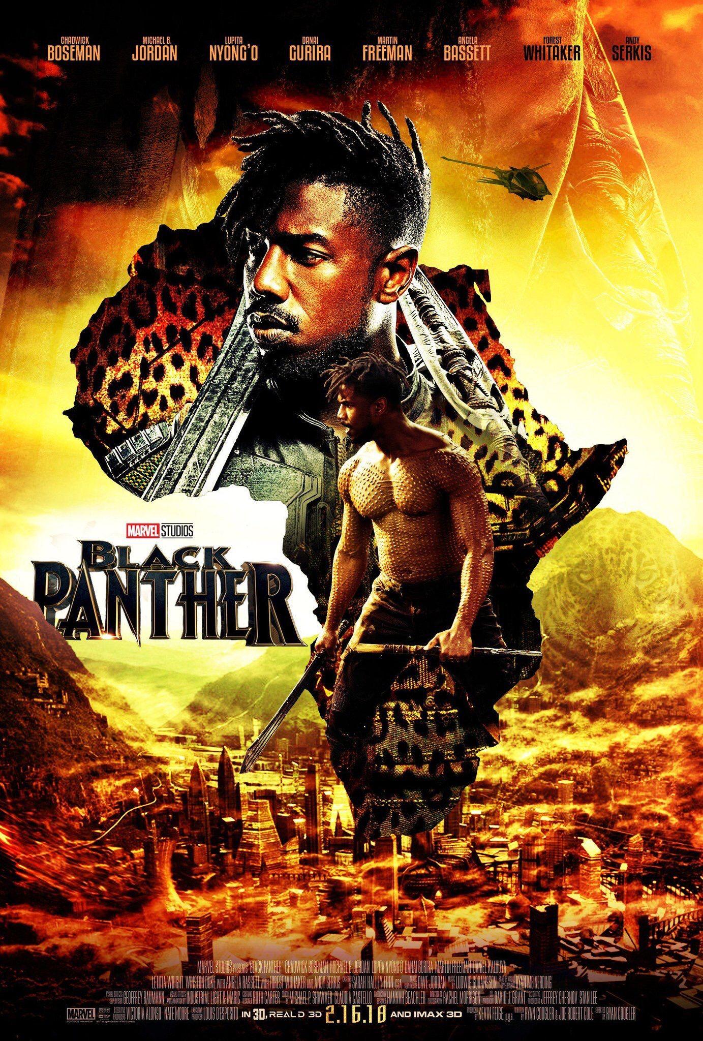 Black panther fan art poster killmonger variant black