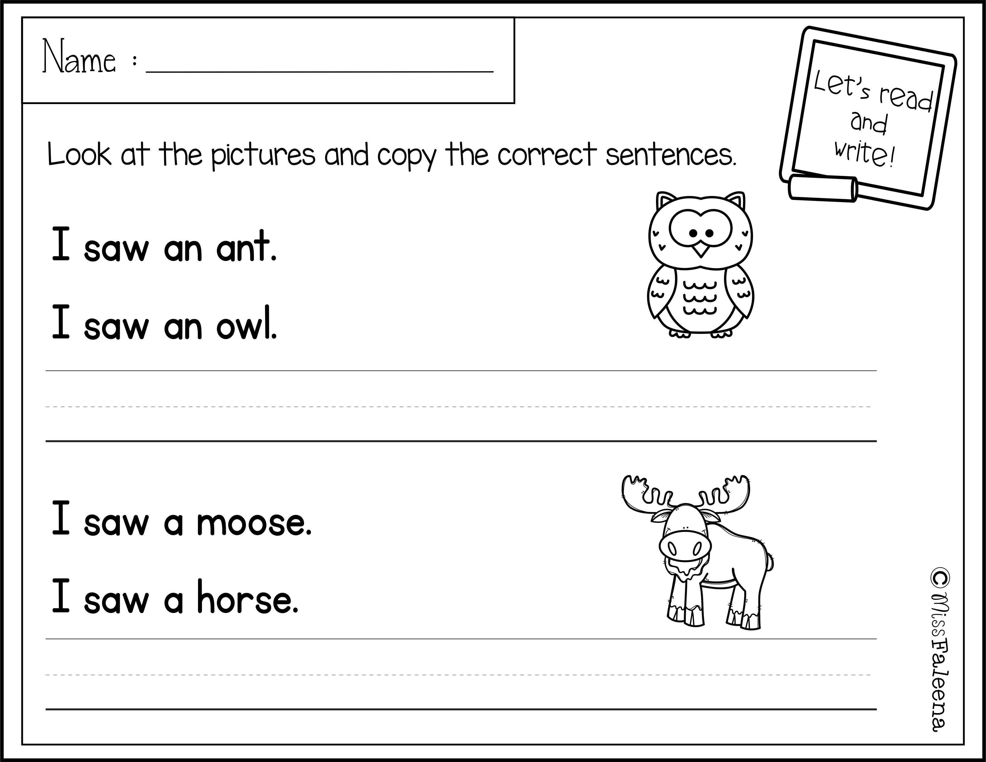 September Sentence Writing