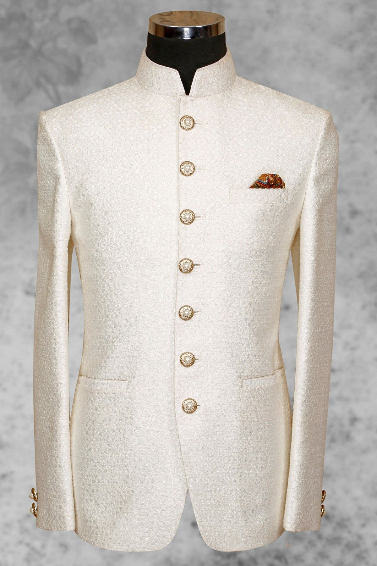 95f36dfeb9 White pleasing #silk suit with bandhgala collar-ST496 | FASHION ...