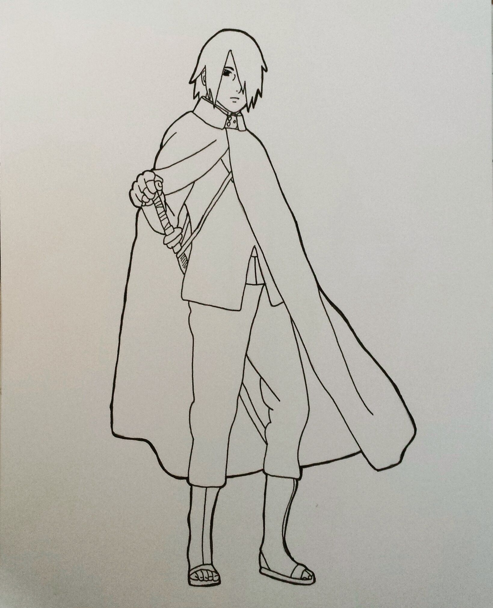 My Drawing Without Color Of Sasuke Uchiha From Boruto Naruto The