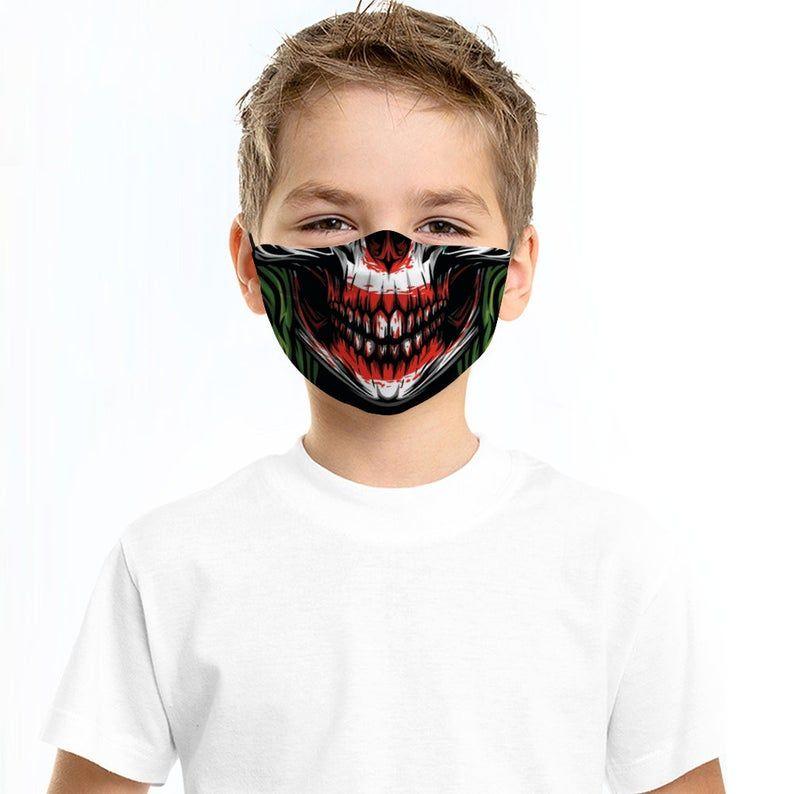 Joker Face Mask With Filter Reusable Adjustable Face Mask Adults Kids Breathable Washable Fac Joker Face Mask Mask Design