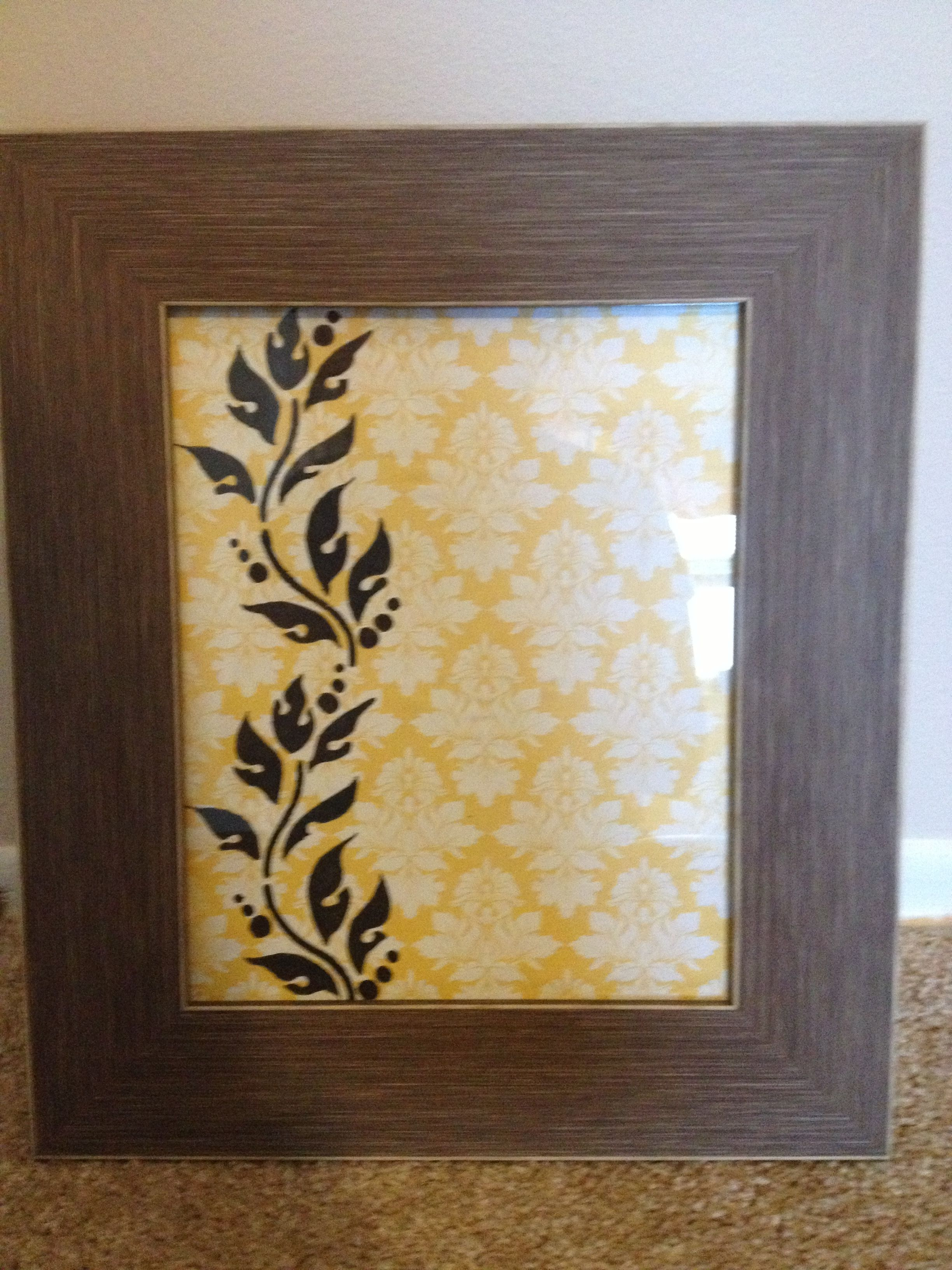 Picture frame, scrapbook paper, and stencil. Simple but cute wall ...