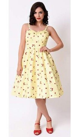 83a1bfd079 Stop Staring! 1950s Style Yellow Cherry Gingham Juliet Swing Dress ...