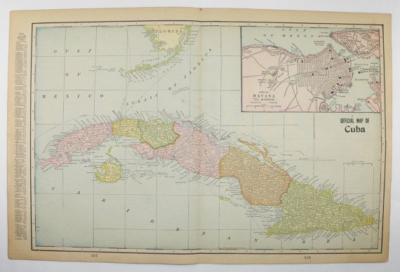 Vintage Cuba Map Mexico Central America Map Cuban Decor Gift - Vintage map of cuba