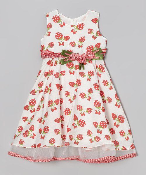 Love this White & Red Strawberry Dress - Toddler & Girls by Bonny Billy on #zulily! #zulilyfinds