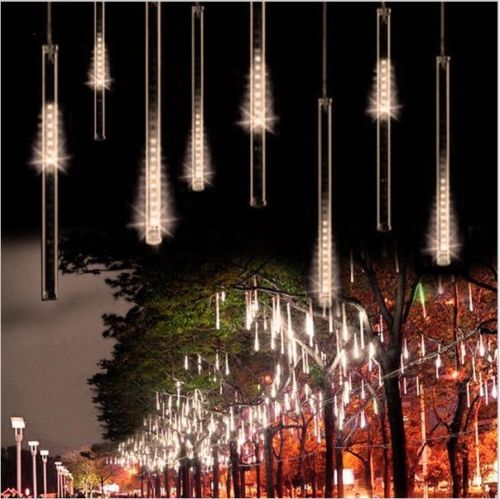 8pcs meteor shower falling star rain drop icicle snow fall led xmas string light