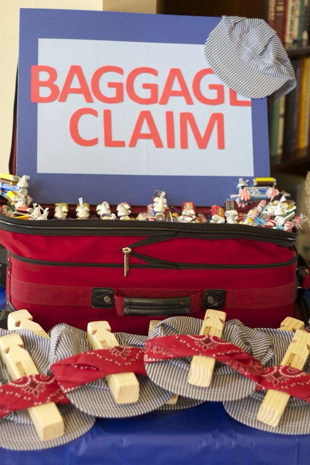 Train Birthday Party; Baggage Claim For Favor Table