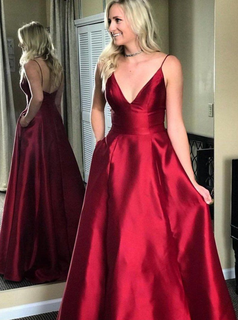 Vneck burgundy long satin prom dress fashion pageant dress school