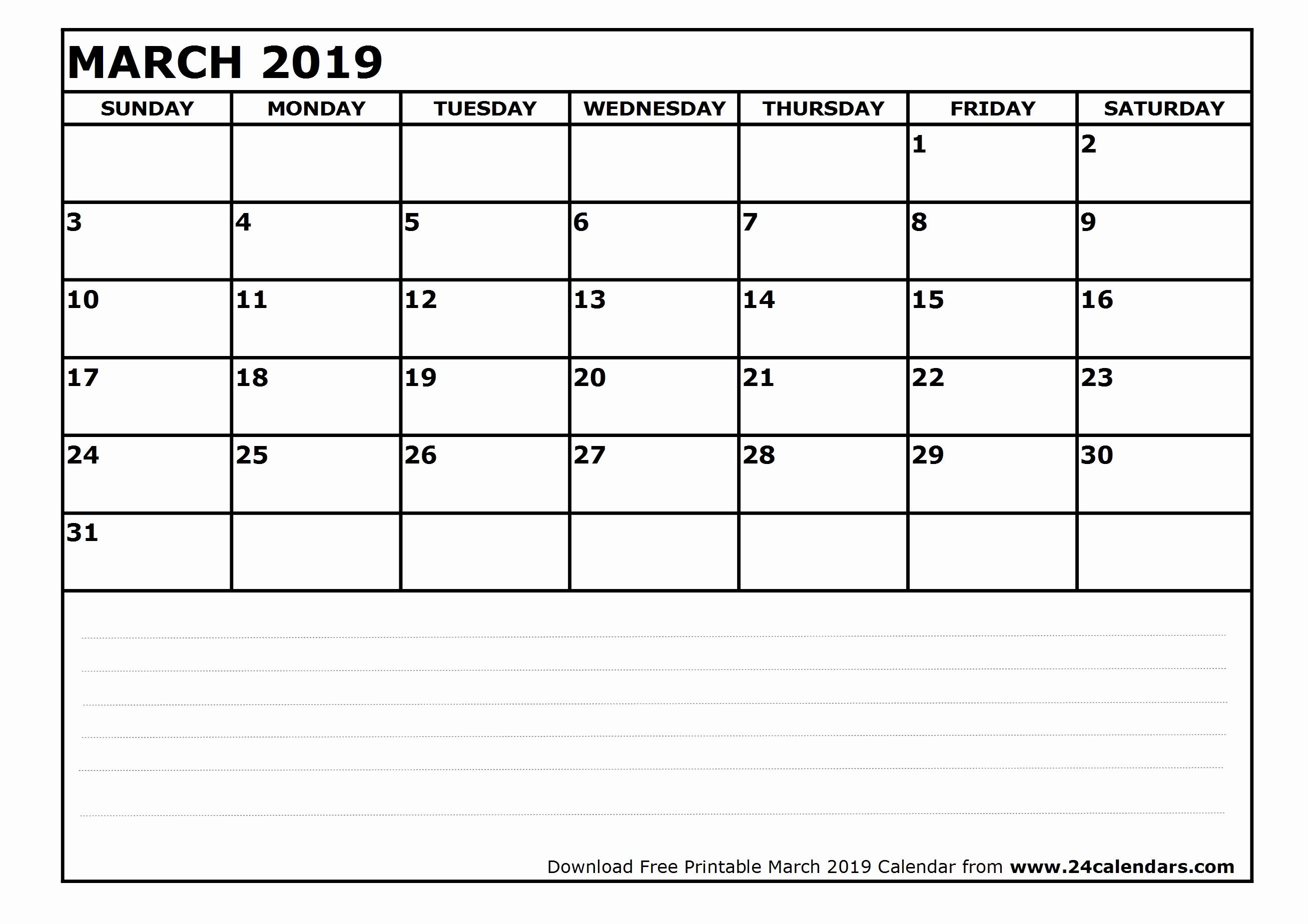 Printable Monthly Calendar March 2019 250 March 2019 Calendars