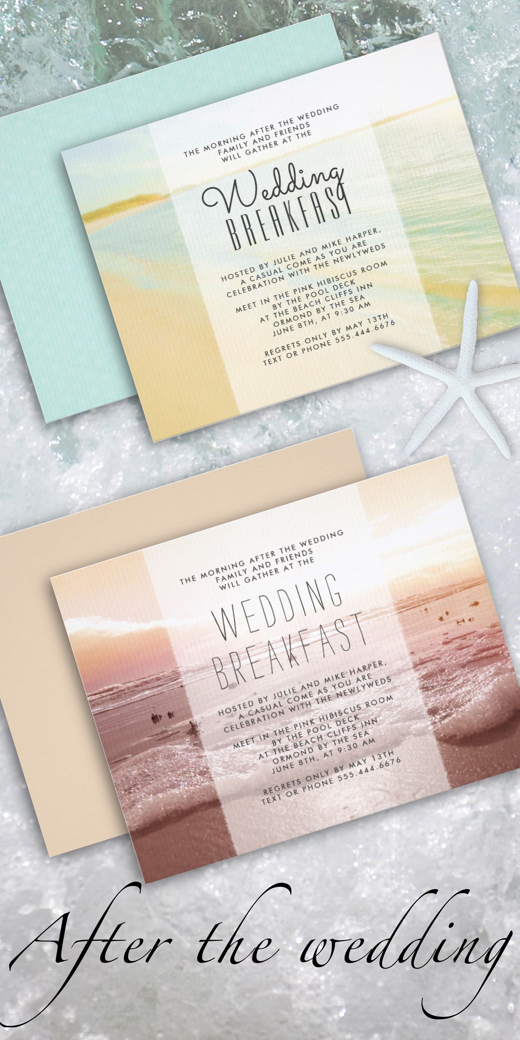 Beach wedding breakfast / brunch invitations to use for the morning ...