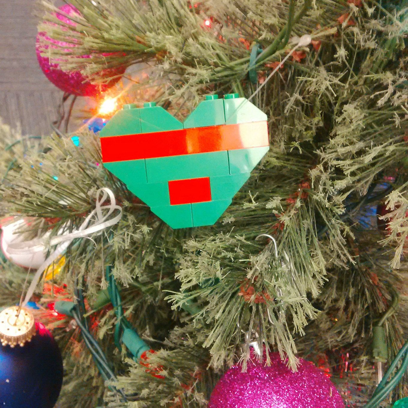Christmas lego ornament by samzbrego on etsy holiday ornaments
