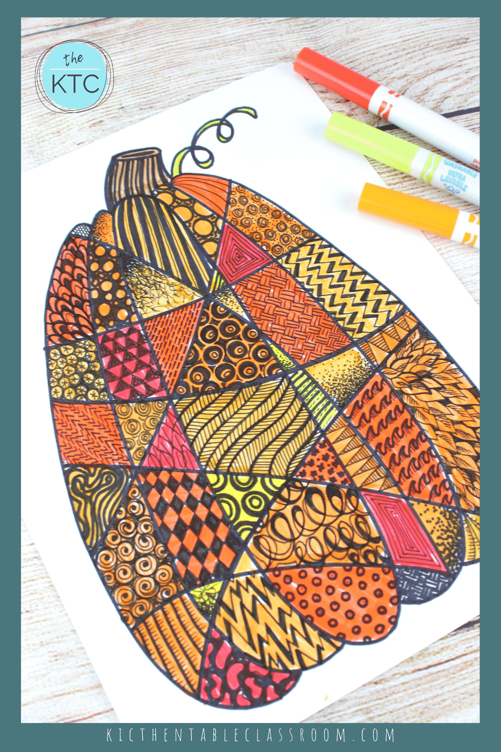 Zentangle Pumpkin Drawing - The Kitchen Table Classroom in 5