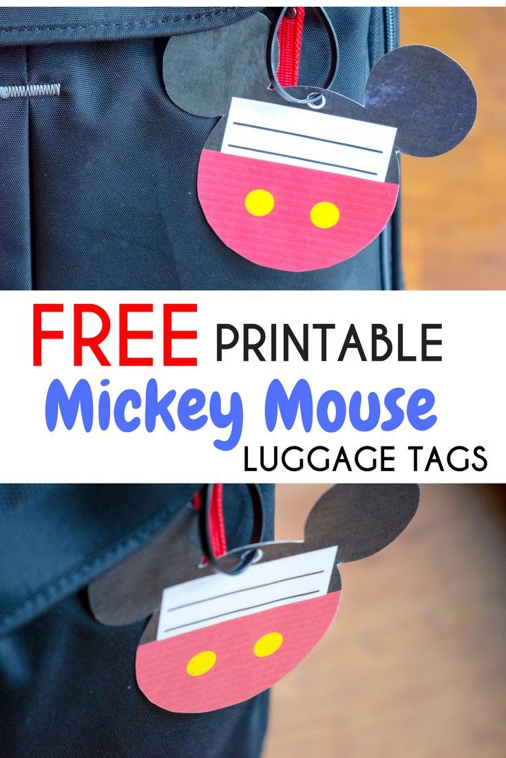 graphic regarding Disney Luggage Tags Printable named Absolutely free Printable Mickey Mouse Baggage Tags All Components Disney