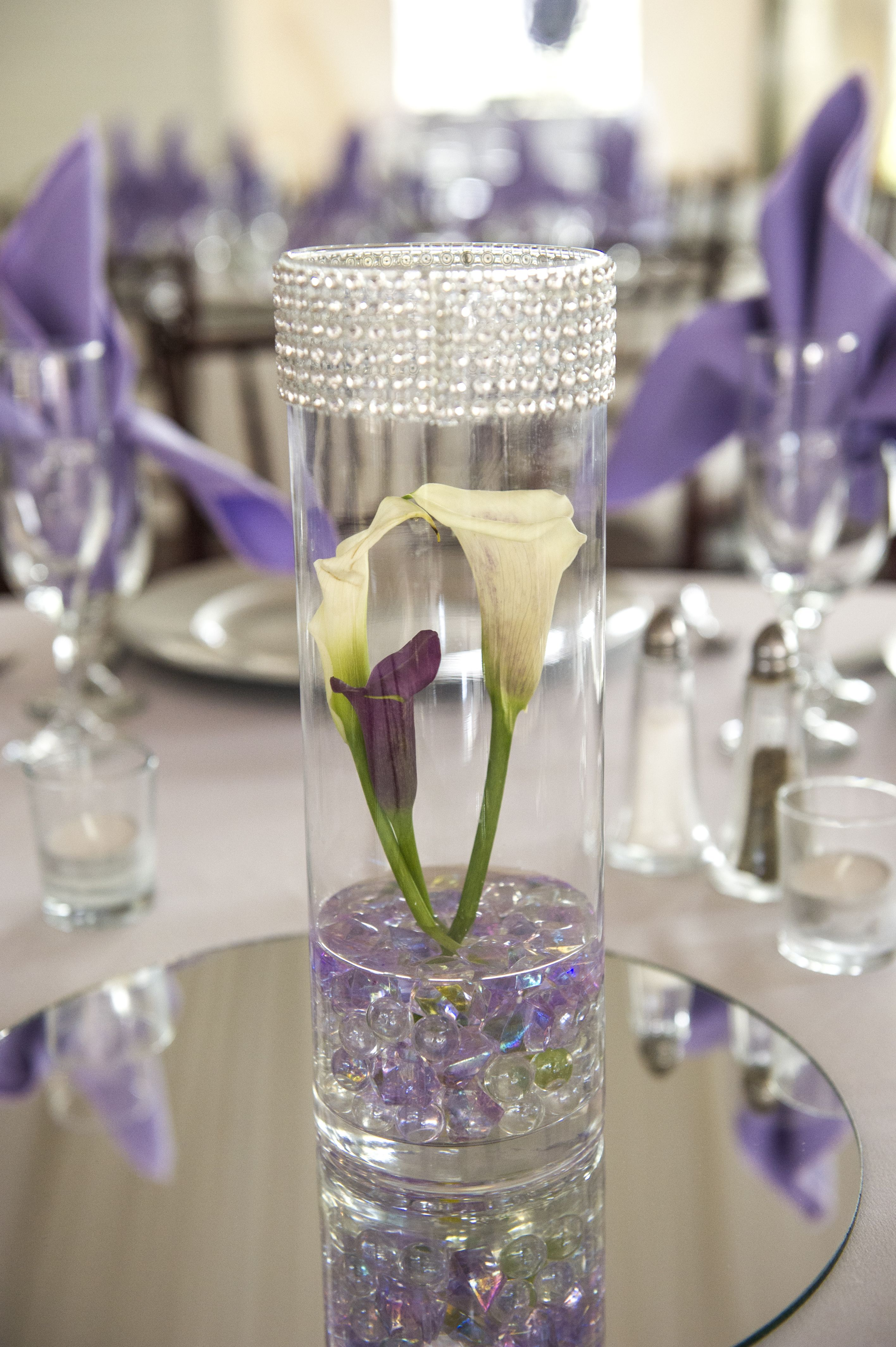 Tall Vase With Bling From Michaels Three Mini Calla Lillies,