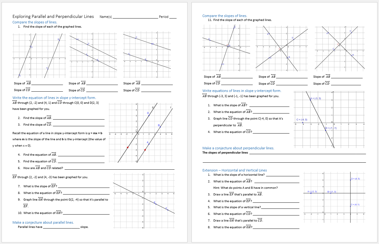 worksheet Graphing Parallel And Perpendicular Lines Worksheet exploring parallel and perpendicular lines paper pencil math lines