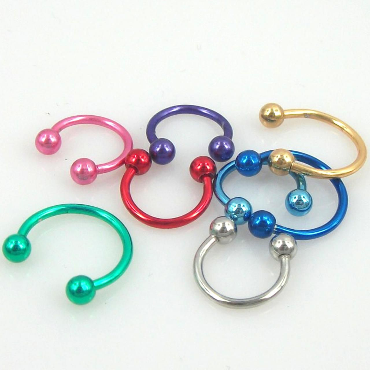 Body piercing jewelry  pcs Colorful Ball Nose Ring Septum Studs Stainless  Piercing