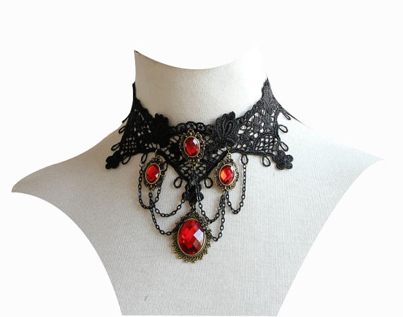 Vintage Vampire Black Lace Choker Necklace Punk by gothicjewelry
