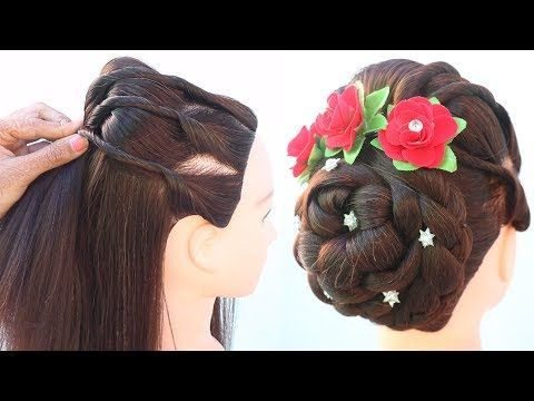 new juda hairstyle for saree || juda hairstyle with puff ...