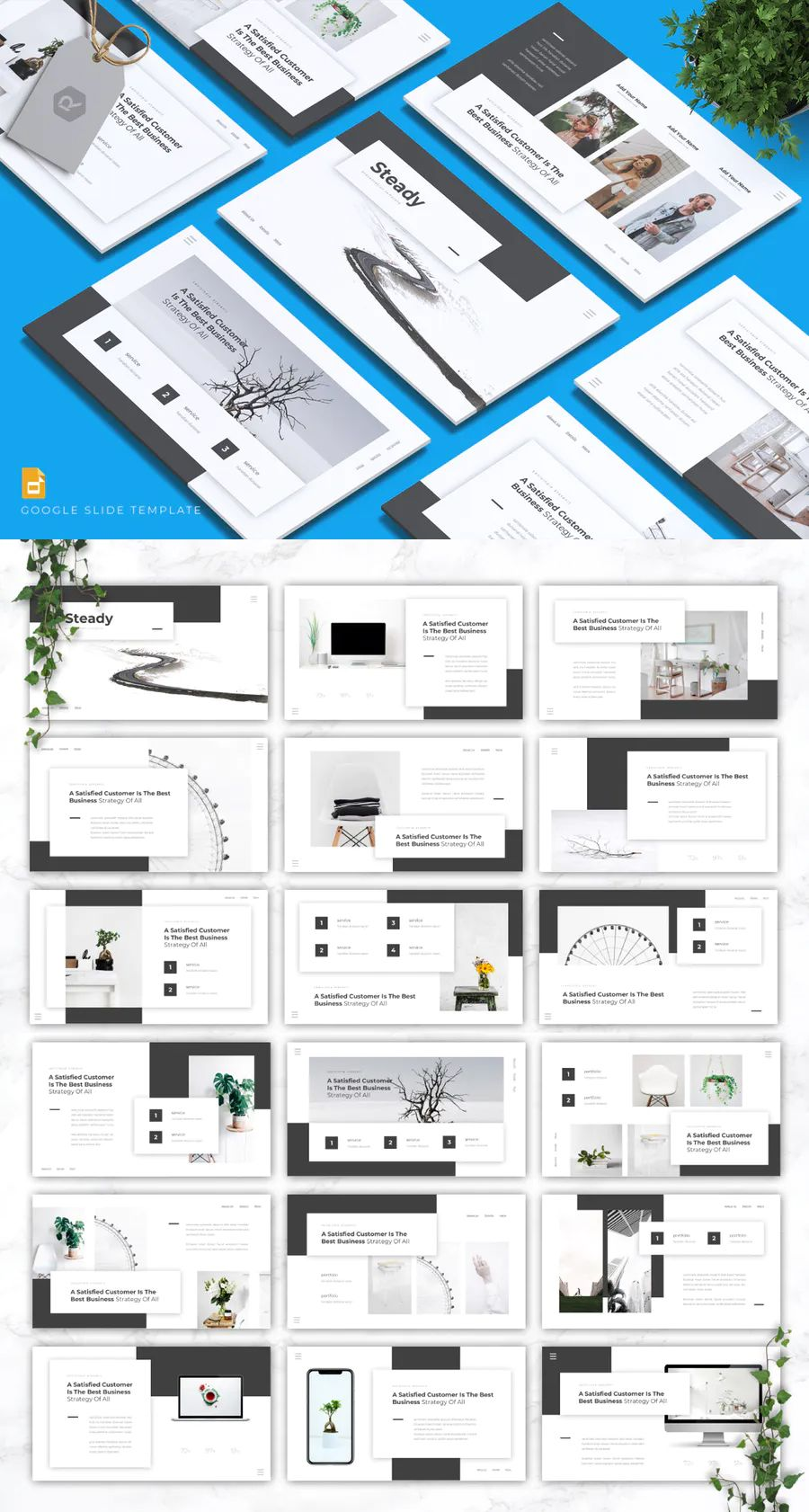 Google slides template. 30 slides Powerpoint templates