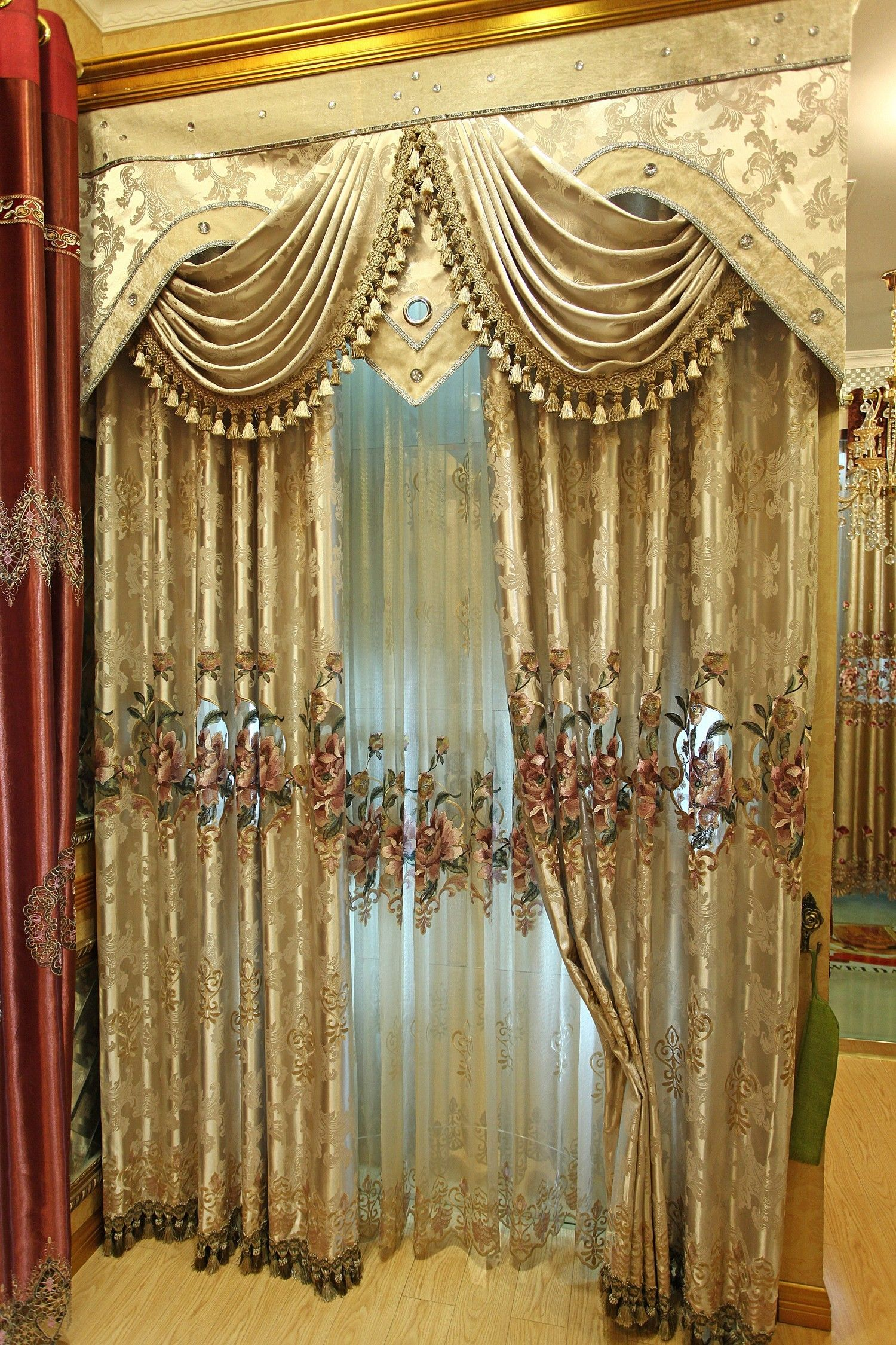 Curtain Design Ideas For Living Room: Luxury High-grade Embroidery Curtains The
