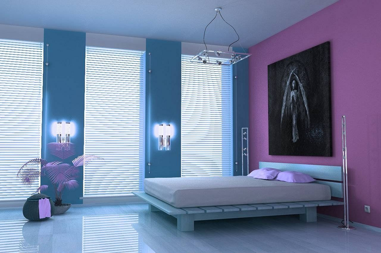 24 Beautiful Minimalist Bedroom Design Ideas For Small Spaces Teracee Blue Bedroom Colors Beautiful Bedroom Colors Colorful Bedroom Design Purple minimalist room decor