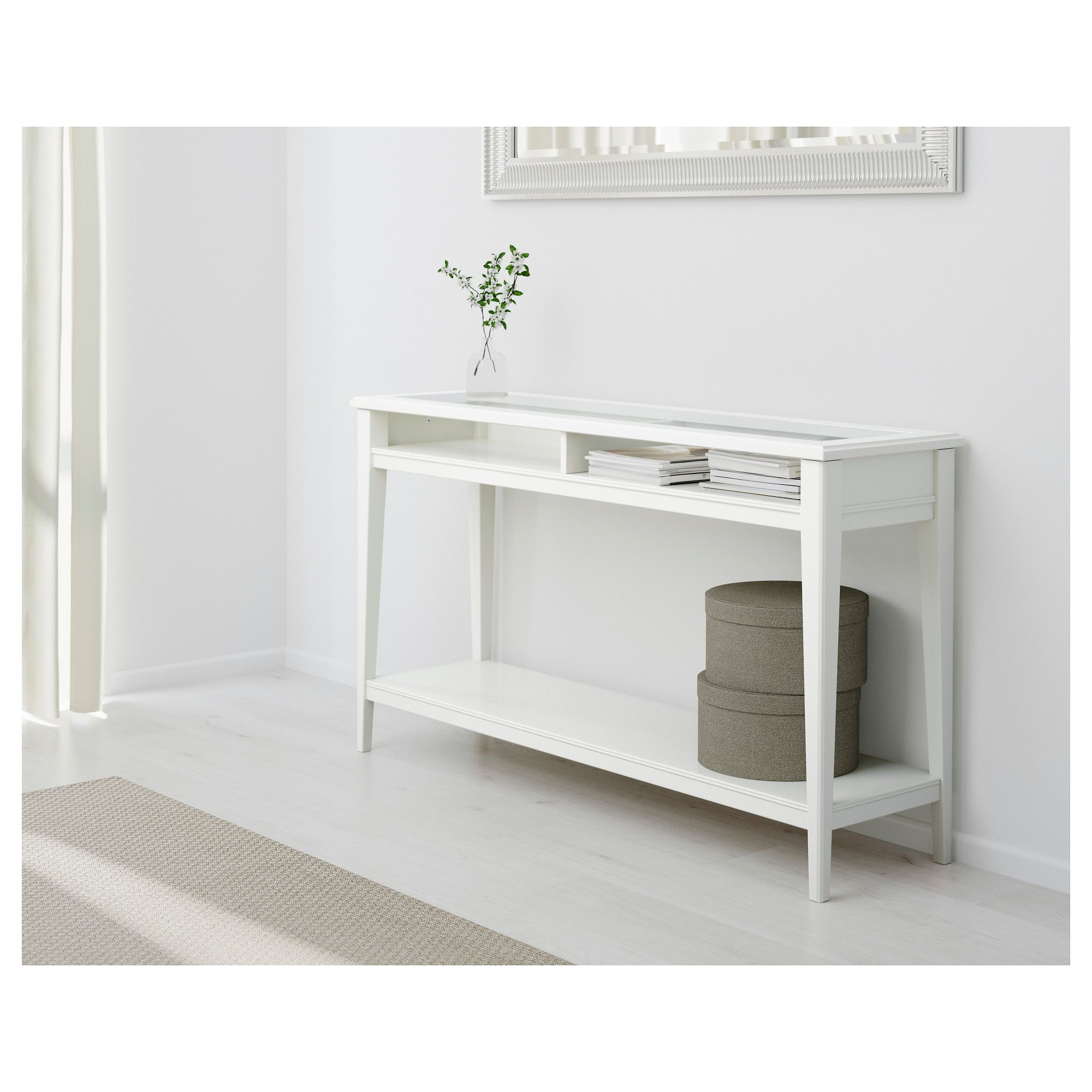 Liatorp Console Table White Glass 52 3 8x14 5 8 133x37 Cm White Console Table Ikea Console Table White Sofa Table