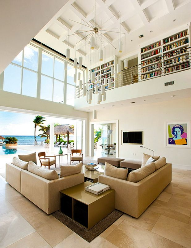 Amazing indoor space, living area at the South Sound House in Grand Cayman. Built by Edgewater Group   www.edgewater.ky