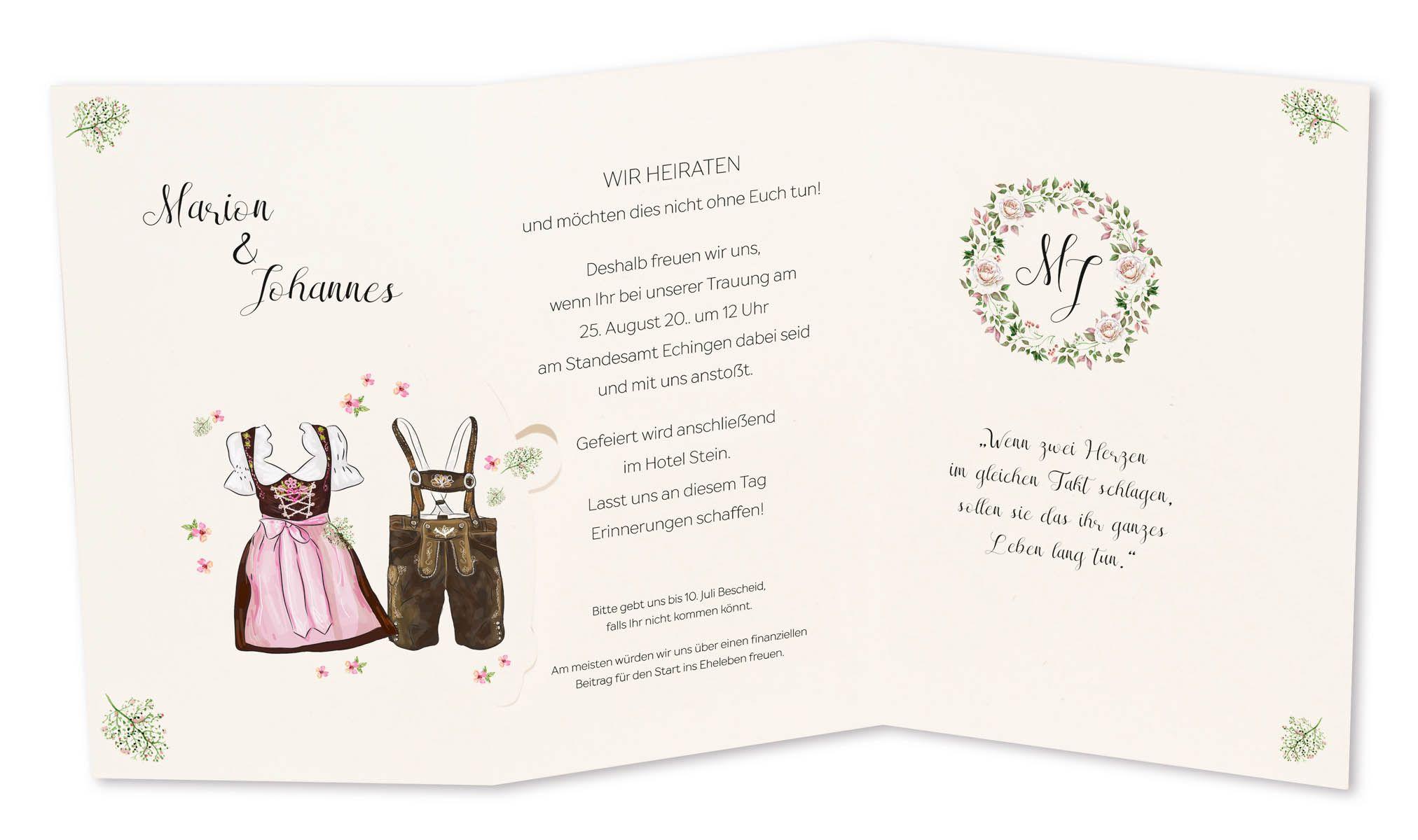 Hochzeitskarte Im Trachten Stil Mit Lederhose Und Dirndl Als Faltkarte Hochzeitskarten Karte Hochzeit Lustige Hochzeitskarten