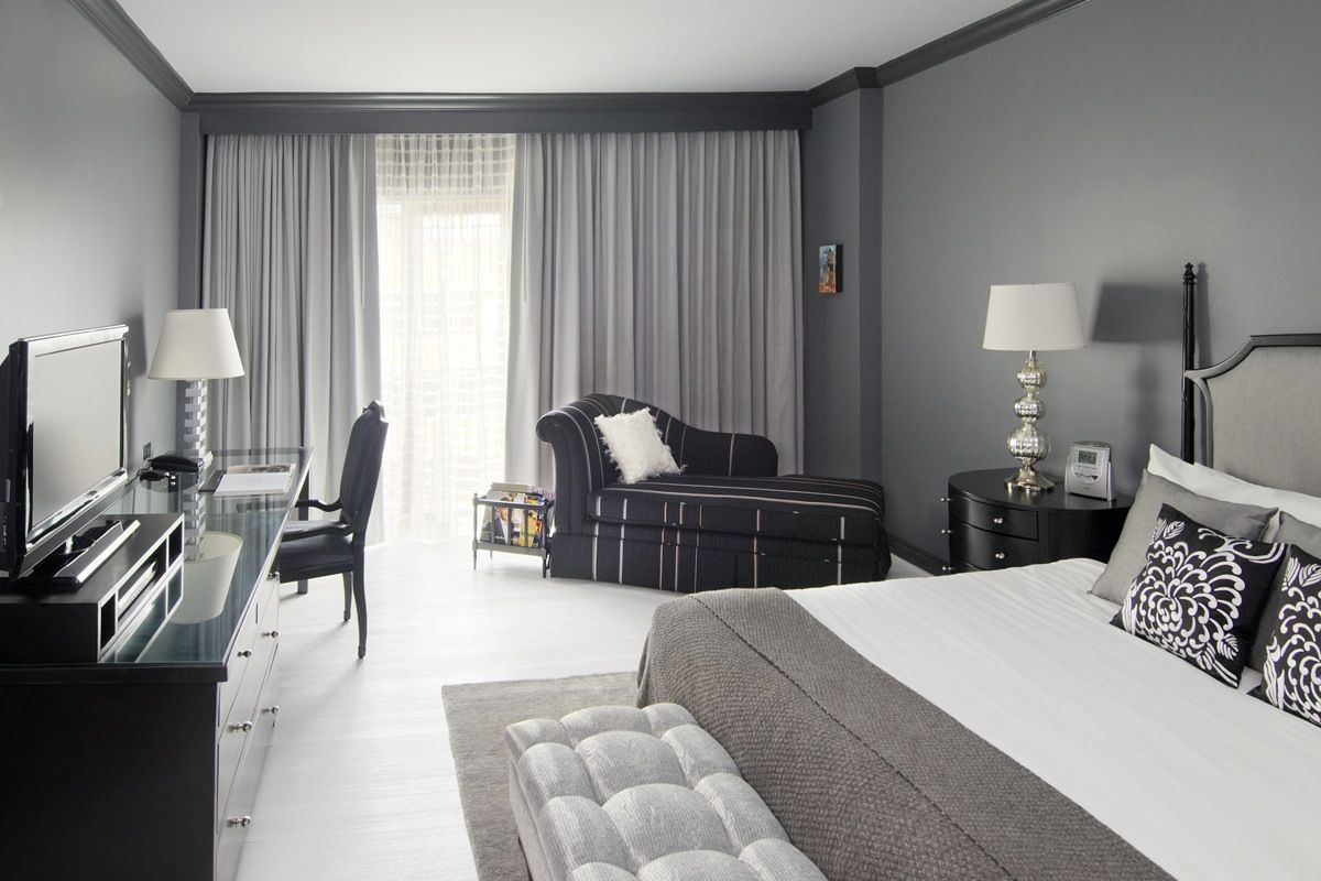Black and white and grey bedrooms - Gorgeous Gray Bedroom See More In How To Choose Your Perfect Color Palette Emily