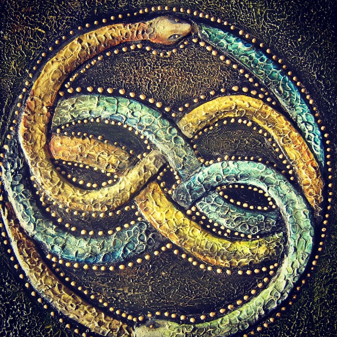 Infinity snakes made with textured paste, acrylic paint on