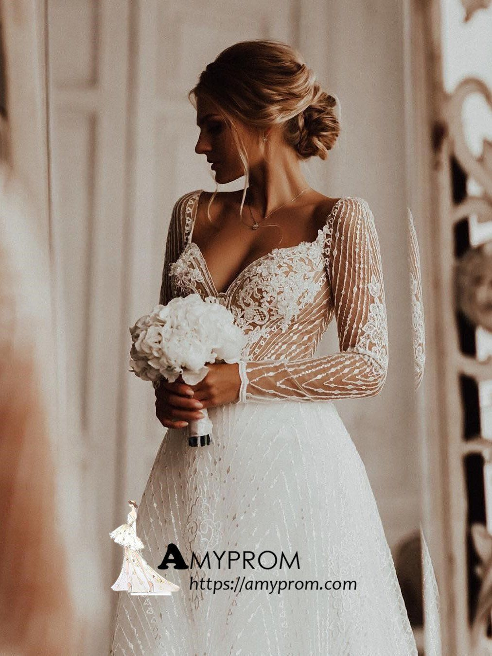 a51e25204f3 Romantic Wedding Dresses A-line Lace Wedding Dress With Long Sleeve Bridal  Gowns AMY2871