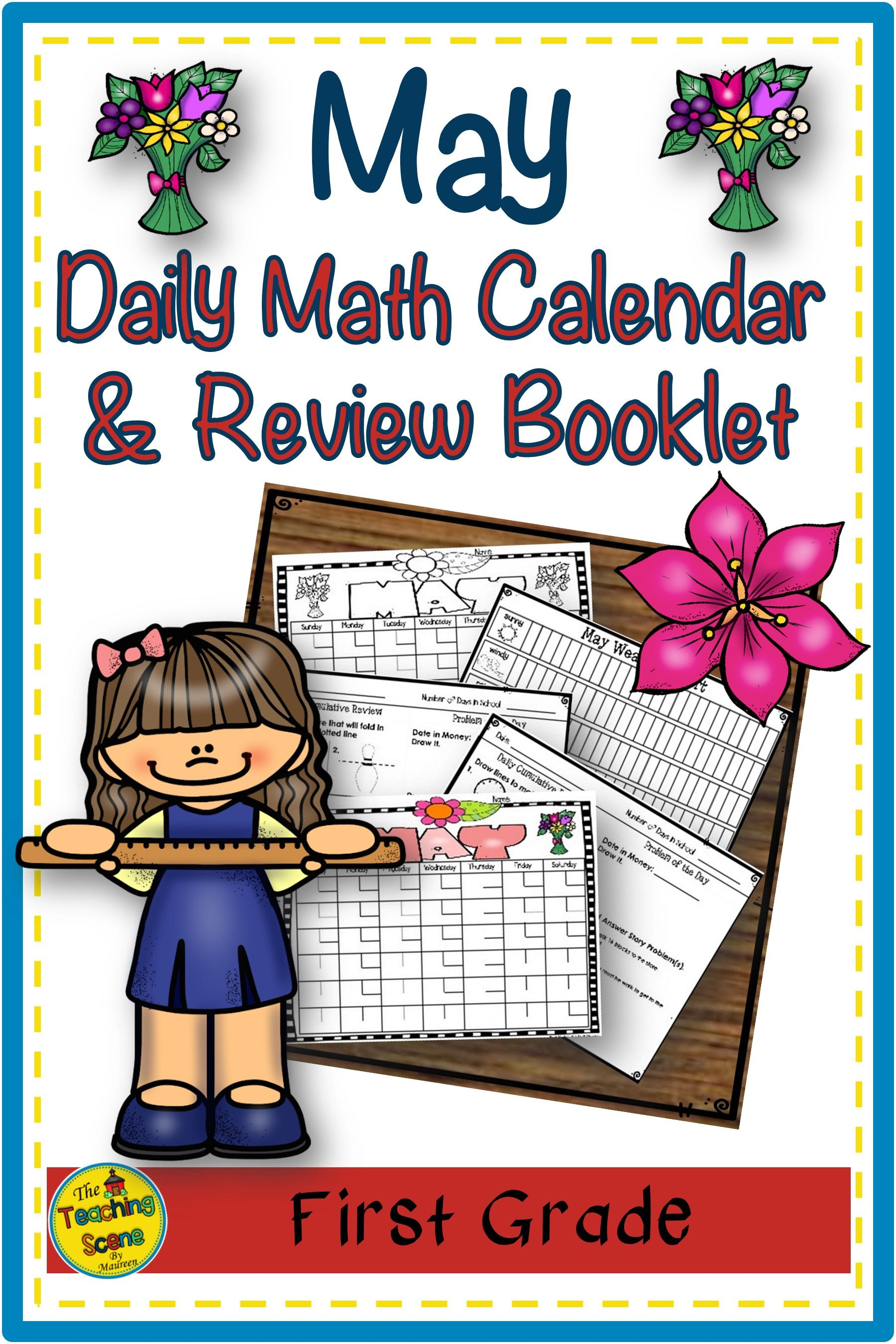 First Grade Daily Calendar Amp Math Review Booklet May