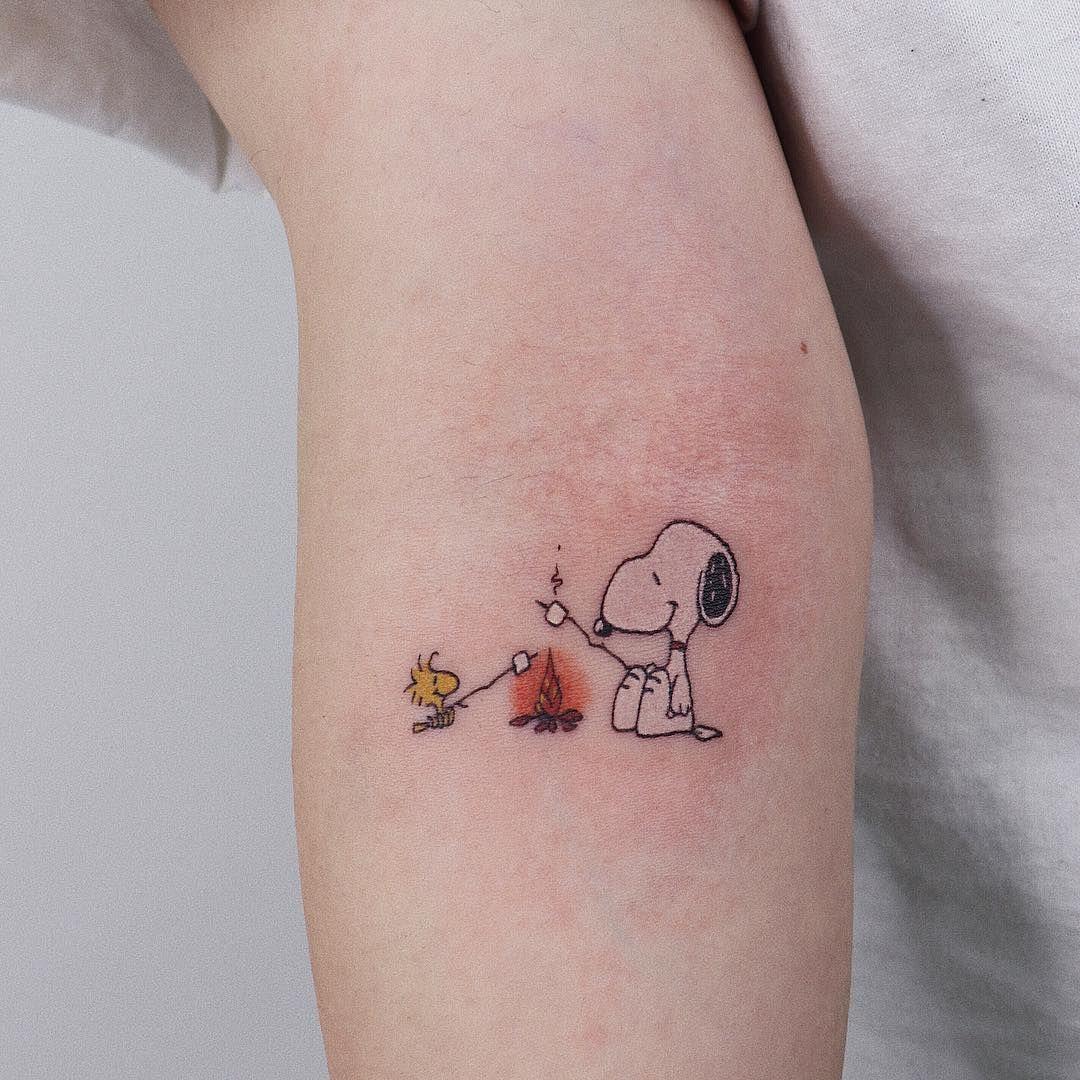 Snoopy And Woodstock Tattoo Peanuts Tattoo Character Fandom
