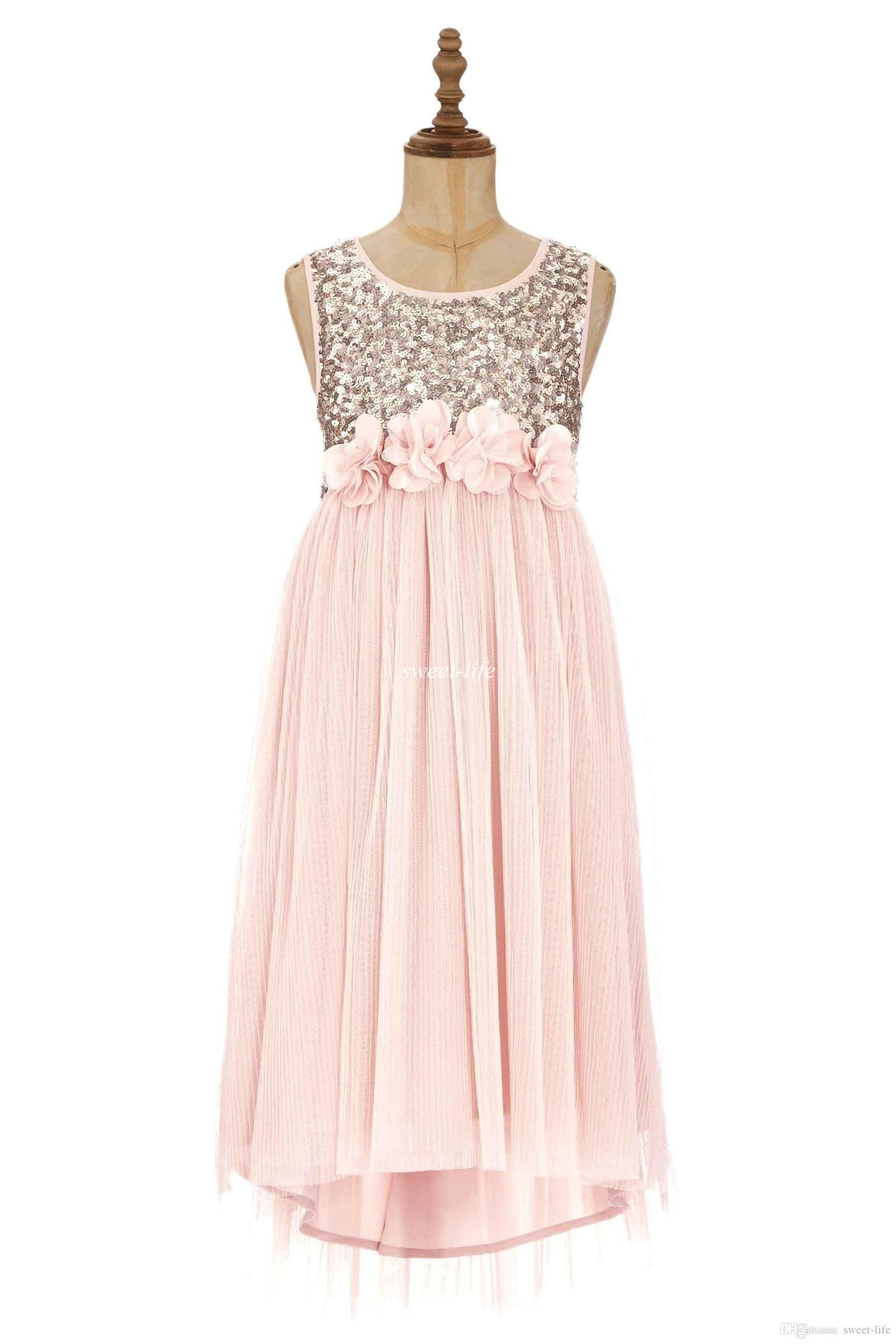 The baby girls dresses which match the flowers 2015 blush flower 2015 blush flower girls dresses gold sequins hand made flower sash tea length tulle jewel a line kids formal dress junior bridesmaid dress ombrellifo Gallery