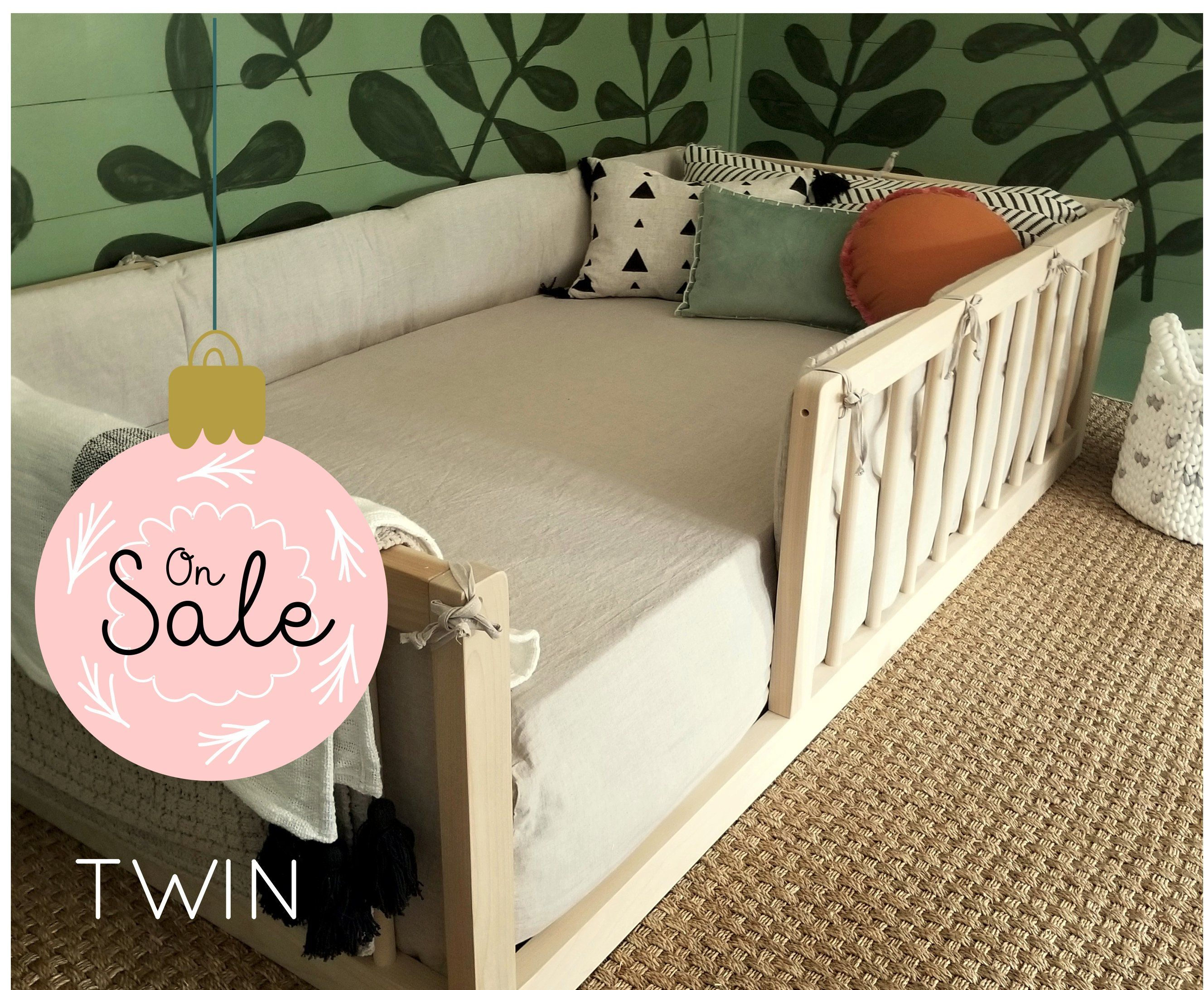 Montessori Floor Bed With Rails TWIN Size (With images