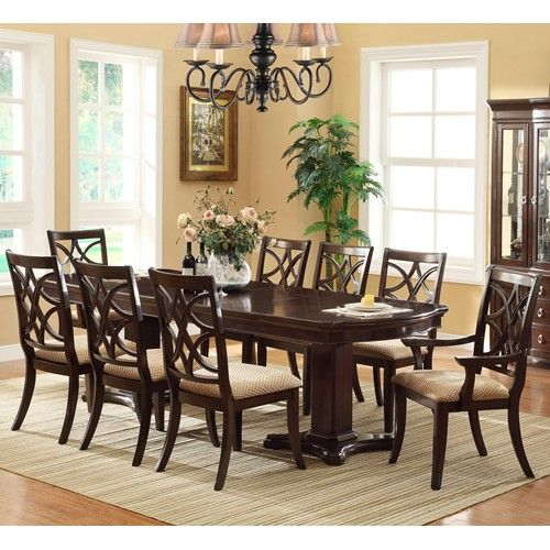 Crown Mark Catherine 9 Piece Pedestal Table Upholstered Dining