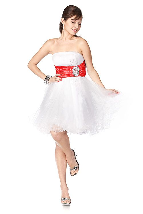 Strapless Tulle White Turquoise Short Prom Dress - Discountdressup ...