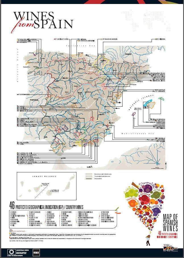 Mapa de los vinos de la tierra de España
