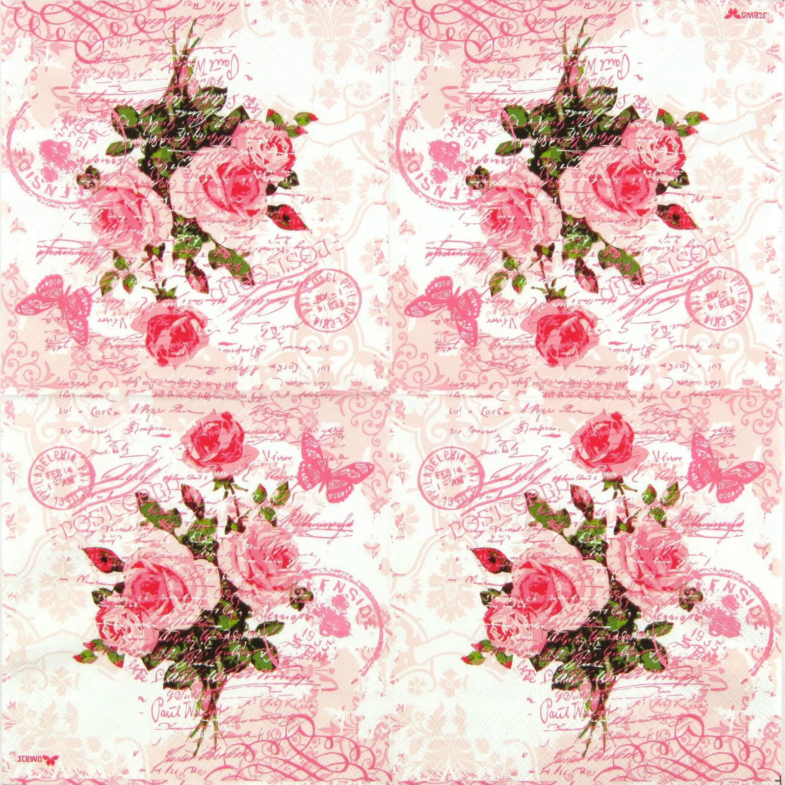 Details About 4x Paper Napkins For Decoupage Vintage Red