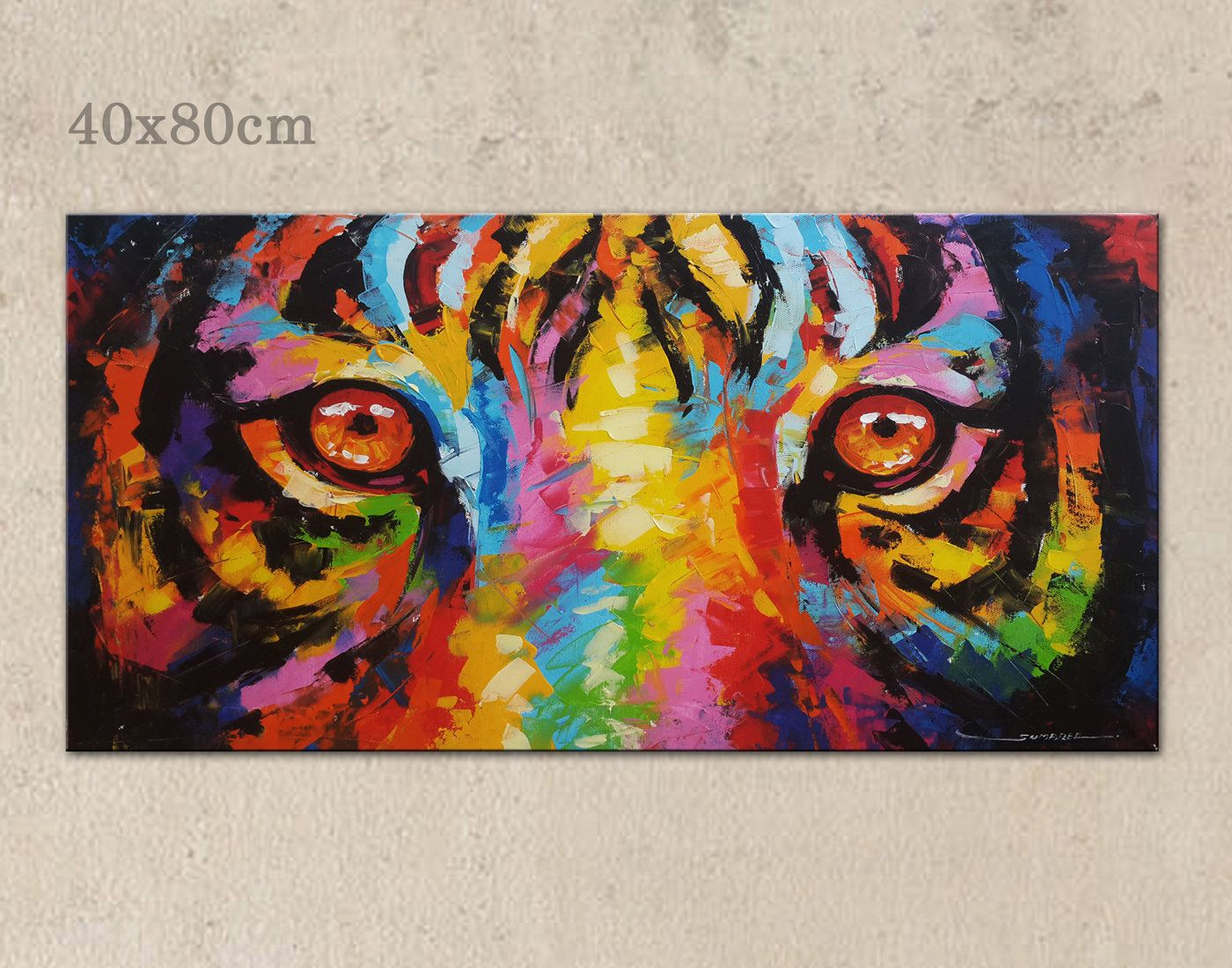 40 x 80 cm colorful tiger eyes paintings wall decor paintings by sumareeart on etsy